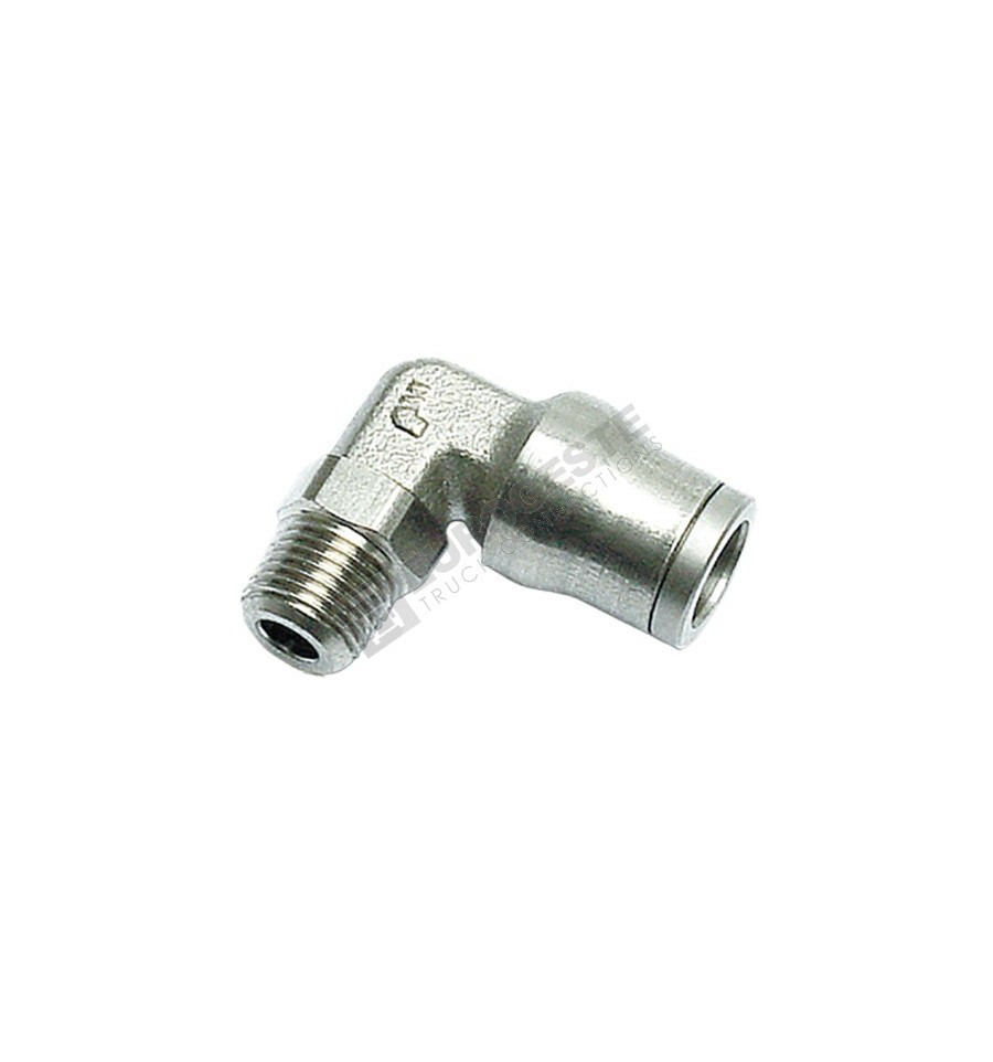 Push in male elbow plug connector